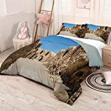 Luoiaax Galaxy 3-Pack (1 Duvet Cover and 2 Pillowcases) Bedding One of Abandoned Sets of The Movie in The Desert Phantom Menace Antique Cave Houses Polyester (Queen) Brown Blue