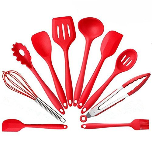 10 Piece Kitchen Cooking Utensils - Nonstick Utensil Set - Silicone and Stainless Steel Kit - For Pots and Pans ,Serving Tongs, Spoon, Spatula Tools, Pasta Server, Ladle, Whisk Cyber Monday Deals