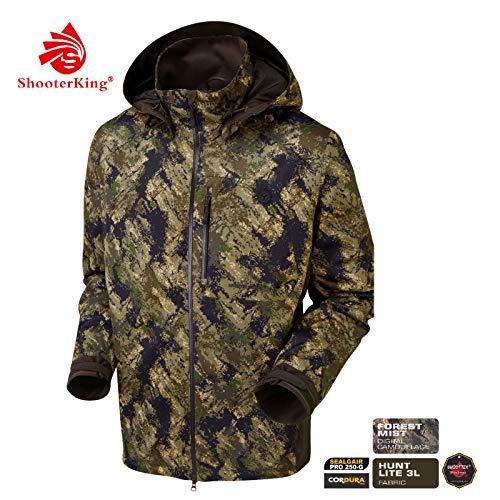 Shooterking Huntflex Jagdjacke | Leichte und Atmungsaktive Multifunktionsjacke für Herren | wasserdichte Jagdjacke (S, Digital Camo Forest Mist)