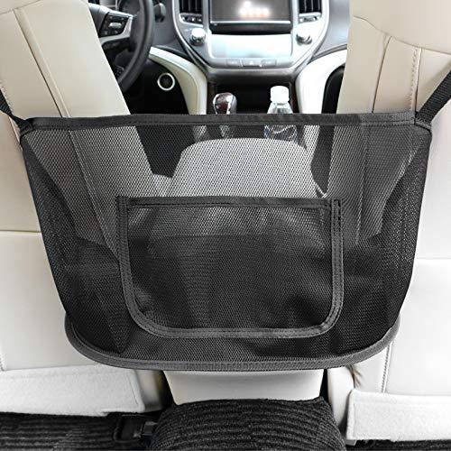 AQISI Car Mesh Organizer,Seat Back Net Bag,Barrier of Backseat Pet Kids, Driver Storage Netting Pouch,Cargo Tissue Purse Holder Pocket (Upgrade-Black Border)
