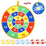 TaeMaJoy Dart Toys for Kids, Double Sided Safe Dart Board for Kids with 9 Sticky Balls and 13.6 Inches Dartboard, Best Outdoor Indoor Sports Family Party Toys Game Gifts for Boys Girls Children