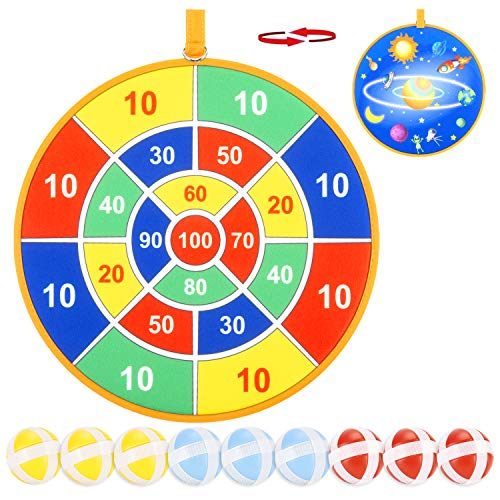 Dart Toys for Kids, Double Sided Safe Dart Board for Kids with 9 Sticky Balls and 13.6 Inches Dartboard, Best Outdoor Indoor Sports Family Party Toys Game Gifts for Boys Girls Children