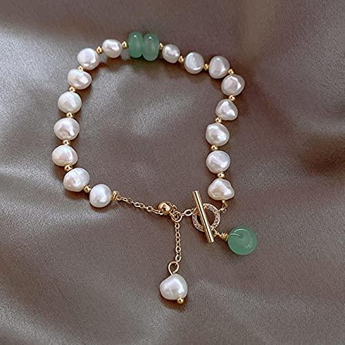 ZXCM Pulsera Colgante de la Perla de Piedra Natural de la Moda clásica para Mujer Exquisita Nueva Brazalete Afortunado Pulsera Aniversario Regalo de joyería
