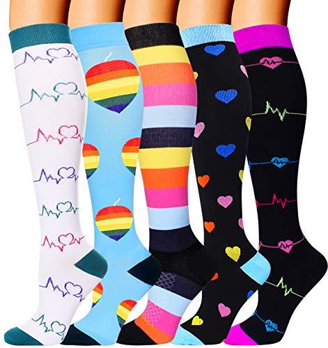 5 Pairs Compression Socks for Women Men 2030mmhg Knee High Stocking for Running