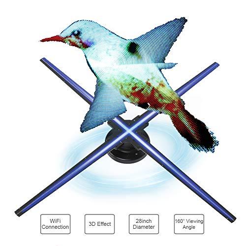 3D hologram projector, WiFi 3D holografische projector reclamemachine display fan, hologram projector tentoonstelling 3D displayer voor restaurant/bank (WIFI, 32GB TF-kaart)