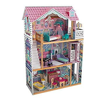 KidKraft Annabelle Wooden Dollhouse with Elevator Balcony and 17 Accessories Gift for Ages 3+