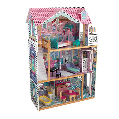 Product Image of the KidKraft Annabelle Wooden Dollhouse with Elevator, Balcony and 17 Accessories...