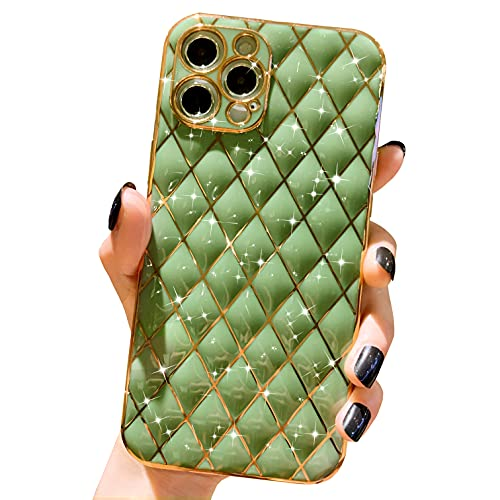 Anynve Compatible with iPhone 12 Pro Max Case, Cute Glitter Sparkle Plating Case, Full Camera Lens Protection & Shockproof Edge Bumper TPU Case for iPhone 12 Pro Max [6.7 inches] -Green