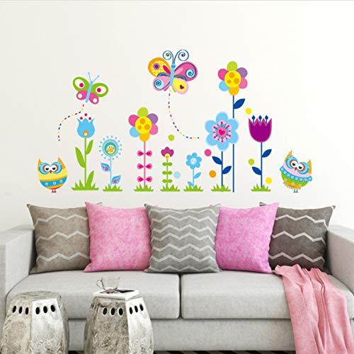 Zócalo de flores de colores búho mariposa pegatinas de pared extraíbles sala de estar dormitorio decoración Mural calcomanía decoración del hogar pegatina