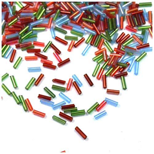 Perlas de rocalla de 2 mm – Mini tubos de perlas rocallas, suministros joyas, perlas de forma original multicolor