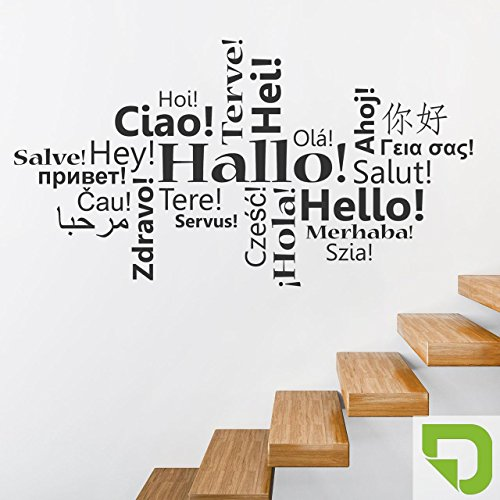 DESIGNSCAPE® Wandtattoo Hallo in vielen Sprachen | Wandtattoo Flur Begrüßung 120 x 65 cm (Breite x Höhe) lindgrün DW803450-M-F16