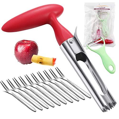 cersaty Apfelentkerner,Edelstahl Apfelkernausstecher,mit ABS Griff und Gezackte Edelstahlklinge,Kernhausausstecher ideal für Äpfel Birnen und anderes Obst(mit 1 Schäler & 10 Fruchtgabel)