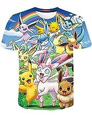 CCBZLY Anime (Pokémon) T-shirt met korte mouwen, uniseks, 3D-print, jongenskleding, vrijetijdssport, korte mouwen