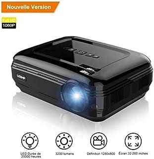 Vidéoprojecteur, LESHP HD 1080P HD 3200 Lumens Led Mini LCD Projecteur de Cinema..