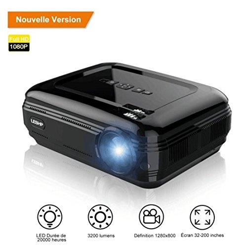 Vidéoprojecteur, LESHP HD 1080P HD 3200 Lumens Led Mini LCD...
