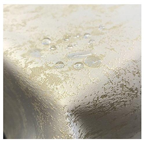 JEMIDI Tischdecke Stofftischdecke melierter Glanz Optik und Lotus Effekt Tafeldecke Tischdecken Decke Tisch Gartentischdecke Champagner 160cm x 220cm Oval