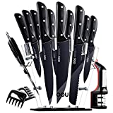 Knife Set, OOU Kitchen Knife Set, 15 Pieces Forged Full Tang High Carbon Stainless Steel fixed with Triple Rivets, FDA Certified BO Oxidation for Anti-rusting, Ultra Sharp & Durable, Black Chef Series