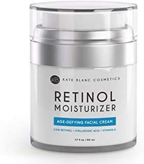 Retinol Cream Moisturizer for Face, Eye Area & Oily Skin (1.7oz) by Kate Blanc. Includes 2.5% Active Retinol, Hyaluronic Acid, Vitamin E, B5. Anti-aging, Reduce Fine Lines, Wrinkles, Dark, Sun Spots