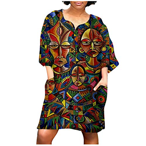 OYSOHE BK 3/4 Sleeve for Women Oversized 2021 Fashion New African Vintage Print Middle Sleeve V Neck Skirt Casual Loose Mini Dress(5XL,Multicolor)