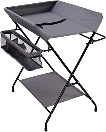 Portable Folding Baby Changing Table Massage Units  Diaper Station Nursery Organizer for Infant Cross Leg Style  Dark Gray