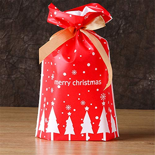 LLKK Bolsitas de Regalo Navidad,Bolsa de Dulces navideños,Envoltorio de Dulces navideños con cordón de Cinta Europea,Ideal para Envolver Regalos para niños,50 Piezas