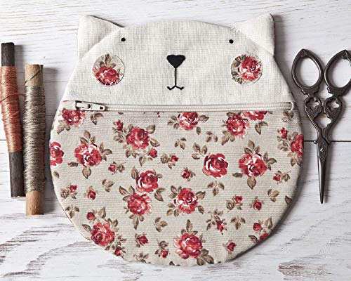 Olive Cat Cosmetic Bag with Roses, Makeup Bag, Round Pencil Case 20 x 20 cm. (7.8 x 7.8 in.), Gift Ideas for Teen Girls, Cat Lover Gift