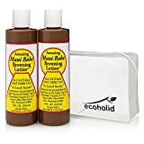 Maui Babe Browning Lotion 8oz (2 Pack) with Ecoholid Cosmetic Bag – Suntan Lotion for Outdoor or Indoor Tanning Bed