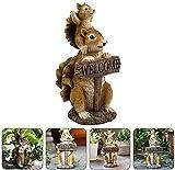 ZHENWULU Resina jardín Figura Ardilla Escultura jardín Figura Figura jardín figurillas Animales dekofigur para Interior al Aire Libre jardín Sala de Estar balcón terraza decoración marrón Excellent