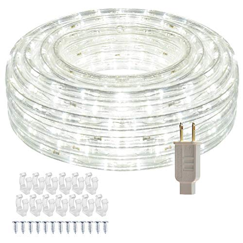 SHPODA 33ft/10m LED Rope Lights,360 LEDs,Cool White,Waterproof,Indoor Outdoor Clear Tube Light Rope and Light Strip,Plugin 110V,Connectable Decorative Lighting for Deck,Patio,Pool,Wedding (6000K)