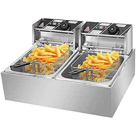 Comft Deep Fryer Commercial Fry Daddy with Basket, Stainless Steel Electric Countertop Large Capacity Kitchen Frying Machine for Turkey, French Fries (12L)