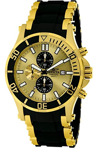 Invicta Sea Spider Men's 1478 Chronograph Gold Black Dial Polyurethane Watch