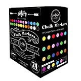 Loddie Doddie Liquid Chalk Markers   Dust Free Chalk Pens - Perfect for Chalkboards, Blackboards, Windows and Glass   6mm Reversible Bullet & Chisel Tip Erasable Ink (Pack of 24)
