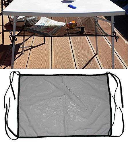 Holzdrehteile Ablagenetz für Campingtisch Tischnetz Aufbewahrungsnetz Netzablage Netz 65 x 50 cm