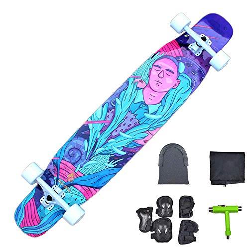 HZTWS Longboard Skateboard Komplettboard Fiberglas + Maple + Bambus, High-Speed-ABEC-9 Lager, mit T-Tool + Schutz + Longboard Rucksack, Durchfall Freeride-Skating Cruiser Boards,B