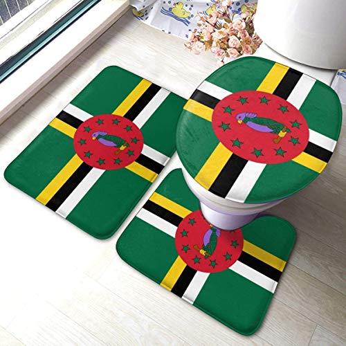asdew987 Dominica Flagge Weiche Flanell Badteppich Matten 3-teiliges Set Badematte + Konturteppich + WC-Deckelbezug mit rutschfester Unterseite
