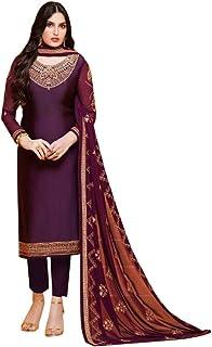 Purple Muslim Party wear Designer Satin Georgette Salwar Kameez Suit Indian Women dress Semi-stitch 8363