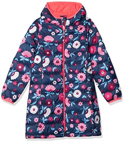 Amazon Essentials Big Girl's Girls' Long Light-Weight Hooded Puffer Sweater, Navy Floral, L