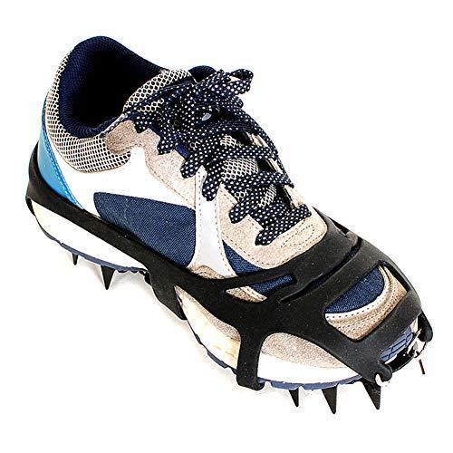 ENticerowts Paire de chaussures antidérapantes 18 dents pour l'hiver, la randonnée, les crampons d'escalade, les crampons adaptés à divers environnements de neige L Noir