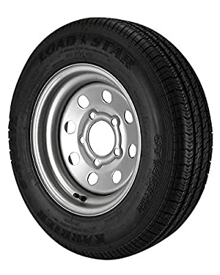 Kenda Loadstar ST145/R12 Trailer Tire LRE on 5 Bolt Silver Mod Wheel - Heavy Duty