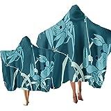 Niños Toallas de Playa con Capucha,Microfibra Toalla de Baño Absorción de Agua de Secado Rápido Poncho,Tortuga Marina,Cangrejo,Pez de Colores Motivo (Color 2, Niño & Adulto 2PCS)