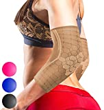 Sparthos Elbow Compression Sleeves (Pair) – Tendonitis Golfer's Tennis Elbow Brace Support for Men and Women Protect in Sports Golf Bowling Baseball Volleyball Gym Workout Weightlifting (Beige-L)