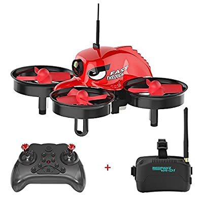 High Tech Remote Control,REDPAWZ R011 5.8G FPV Racing Drone with 3 Inch Goggles 40CH 1000TVL FOV 120°Wide-angle Camera Micro Hedless Mode One Key Return