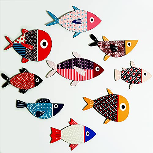 KaLeemi Wooden Fish Wall Decor, Set of 9 Wooden Fish Art with Special Design - The Perfect Decoration for Your Home, Bedroom, Kitchen Room, BathRoom,...or Decorate A Nursery Bedroom For Kids , Girl, Boy