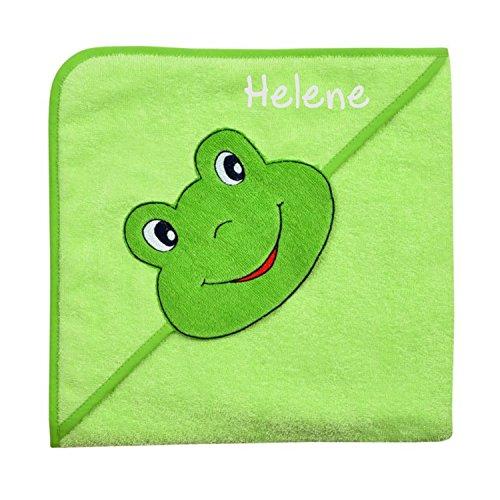 Wolimbo Kapuzenbadetuch mit Ihrem Wunsch-Namen und Tierkopf-Motiv - Format: 100x100cm - Motiv Frosch grün - Das individuelle und kuschelig weiche Badehandtuch für Mädchen und Jungs
