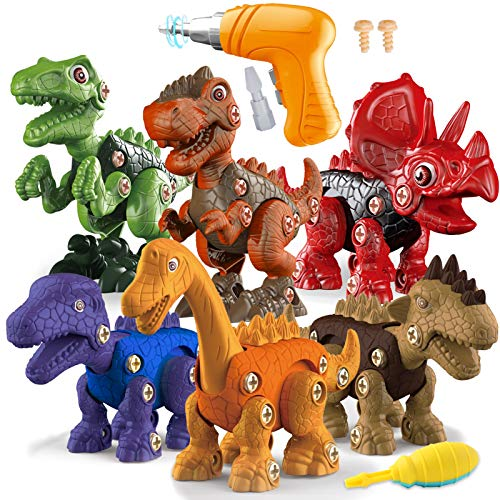 TEUVO TakeApartDinosaurToys for Kids, 6 Packs STEM Building Toys with Electric Drill, DIY Dinosaurs Learning Gifts for Boys and Girls Aged 3-7