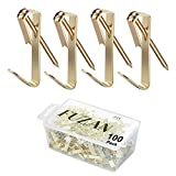 100pcs Picture Hangers with Nails, Professional Picture Hooks Support up to 30lbs, Picture Hanging Kit on Wooden/Drywall for Canvas, Office Pictures, Clock, House Decoration