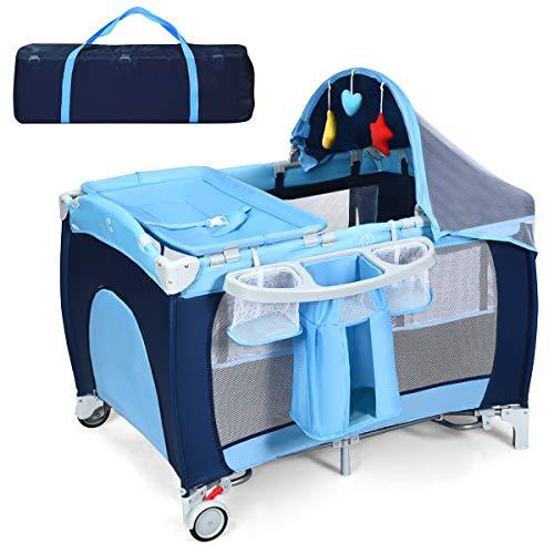COSTWAY 4 in 1 klappbares Reisebett & Babywiege & Wickeltisch & Laufstall mit Schaukelfunktion, inkl. Spieluhr, Spielbogen, Wickelauflage, Matratze, Windel Organizer und Tragetasche (blau)