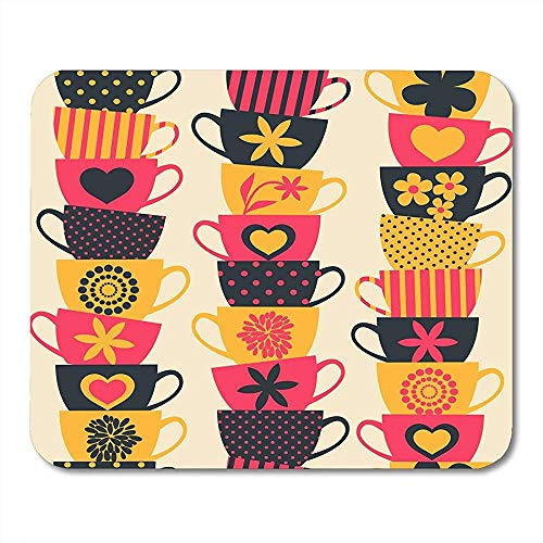 Muismat bruin thee stapels van gestapelde kleurrijke bekers roze patroon retro koffie muismat 25X30cm