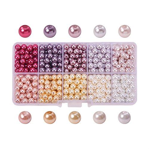PandaHall Elite 600PCS Perline Vetro Perla Rotonde Perla Vetro Perline Colorate 6mm di Diametro 10 Colori 60PCS/ Scompartimento Multicolore-1