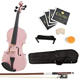 Mendini Solid Wood Violin with Hard Case, Bow, Rosin and Extra Strings (3/4, Pink)